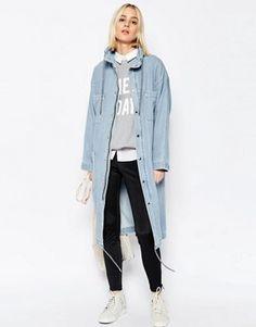 ASOS WHITE - Parka fonctionnelle en jean