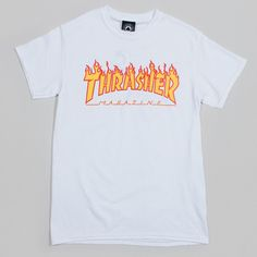 1eb656dd0e6 The Thrasher Flame Logo T-shirt in white is an iconic part of skateboard  culture