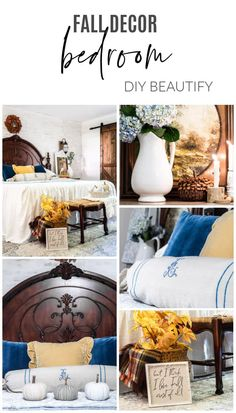 Fall Bedroom Refresh with Blue and Yellow