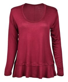 Look what I found on #zulily! Burgundy Ruffle-Hem Long-Sleeve Top #zulilyfinds