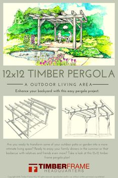 This DIY timber frame pergola plan is an easy project to create outdoor living space for your yard. It's a beginner's project using simple joinery. Timber Pergola, Pergola Patio, Pergola Kits, Backyard Landscaping, Pergola Ideas, Patio Ideas, Patio Roof, Corner Pergola, Cheap Pergola