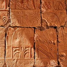 This relief depicts incense and myrrh trees obtained by Hatshepsut's expedition to Punt. @Jess Liu zheng,wikipedia.org