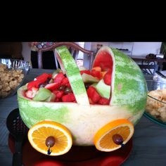 Watermelon baby carriage for my aunt's baby shower!
