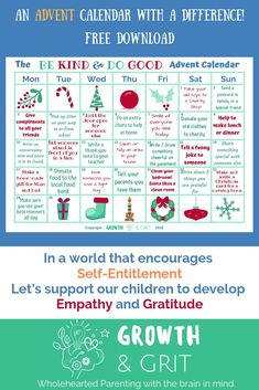 We live in a world that encourages instant gratification, self-entitlement and selfishness - there's not much we can do about that. We can however impact on our children's development of Empathy, Generosity & Gratitude! Advent For Kids, Christmas Activities For Kids, Kids Christmas, Christmas Writing, Advent Ideas, Xmas, Christmas Countdown, Advent Calendar Activities, Advent Calendars For Kids