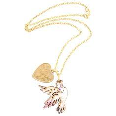 Pretty pastel dove necklace - £9