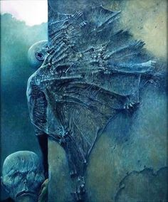 "Polish surrealist Zdzisław Beksiński managed to combine despair, horror and decay with beauty and awe during his ""fantastic period"" of the through early Dark Fantasy Art, Dark Art, Creepy Paintings, Creepy Art, Arte Horror, Horror Art, Art Macabre, Art Sinistre, Surreal Art"