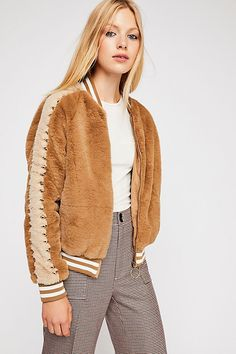 Letterman Fur Jacket from Free People! Faux Shearling Coat, Faux Fur Jacket, Autumn Fashion 2018, Cold Weather Fashion, Fall Jackets, Look Chic, Colorful Fashion, Fur Coats, Clothes
