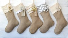 Burlap Christmas Stocking - Set of 5 Gold and Silver Stockings