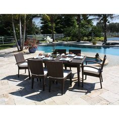 Have to have it. Hospitality Rattan Soho 7 Piece Patio Dining Set - Rehau Fiber Java Brown - Seats 6 - $2618 @hayneedle