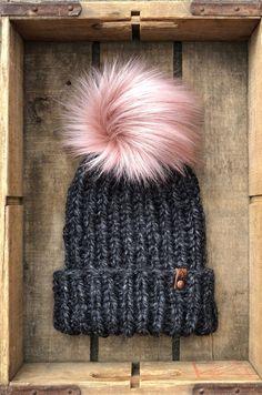 Hand Knit Snowboarder Chloe Kim Inspired Beanie Muse Faux Fur Pom e811885f5ebc