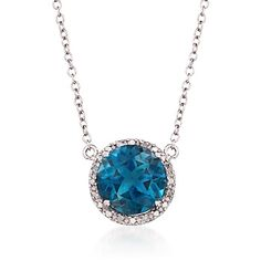 """3.20 Carat London Blue Topaz Necklace With Diamonds in Sterling Silver. 16"""""""