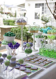 Vintage Purple & Green Dessert Table