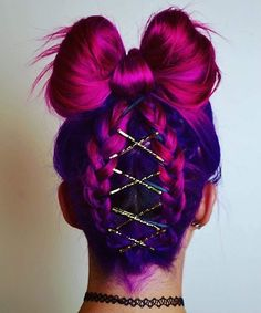 Doing this for crazy hair day! Hair Dye Colors, Cool Hair Color, Pretty Hairstyles, Braided Hairstyles, Crazy Hairstyles, Newest Hairstyles, Wedding Hairstyles, Hairstyle Braid, Office Hairstyles