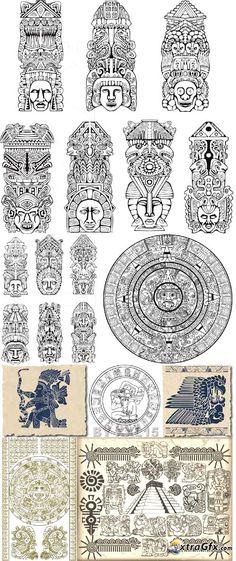 Ever play New Fire RPG? Symbols of aztec and maya Gott Tattoos, Bild Tattoos, Body Art Tattoos, Sleeve Tattoos, Ancient Symbols, Ancient Art, Inka Tattoo, Aztec Symbols, Mayan Symbols