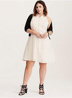 6d1aff102d1 Black and White Pinstripe Fluted Skater Dress