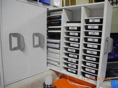 Very unusual idea for storing ink pads, turn drawer system on its side, create divider inserts! Scraproom: More innovation!