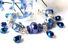 Sapphire Bracelet with Teardrop Crystal Charms and by GirlieGals, $42.00