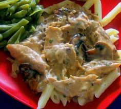 Chicken w/Wild Mushroom and balsamic cream sauce   Rachael Ray   use ground chicken to reduce cooking time