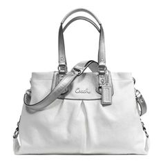 Coach White Silver Leather Handbag In Pristine Condition With Dustcover Still Has New Smell Bags