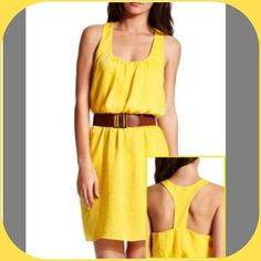 Yellow Dress EUC Charlotte Russe yellow dress with Racerback, comes with brown belt show in pic. Adorable and perfect for summer, very comfortable. Worn only once. Dresses