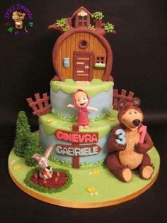 Masha and the bear - Cake by Sheila Laura Gallo Mehr Baby Birthday Cakes, Bear Birthday, 2nd Birthday Parties, Masha Cake, Masha Et Mishka, Marsha And The Bear, Bear Party, Bear Cakes, Novelty Cakes