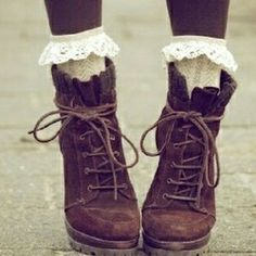 vintage shoes and lace socks Calzini Arricciati bbd948071b1f