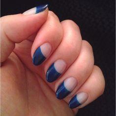 Navy half moon gel manicure.