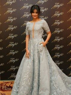 Filipino-American actress Liza Soberano wearing a fully embroidered dove gray MICHAEL CINCO couture gown at the STAR MAGIC Ball 2016, winning Best Dressed for the evening.