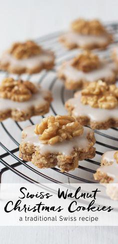 Swiss Walnut Christmas Cookies | eatlittlebird.com