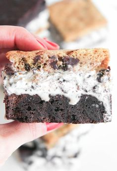Slutty Brownie Ice Cream Sandwiches. Fudgy brownie on one side, chocolate chip cookie on the other with cookies and cream ice cream in the middle. UNREAL.