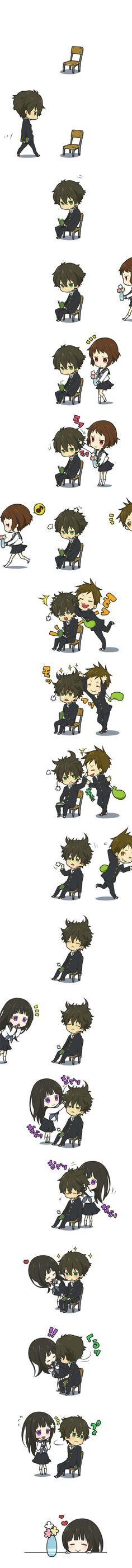 "I sort of. this is so cute? anime name? <----- whatever this is its adorable ^_^ ~This anime is ""Hyouka"" Anime Chibi, Manga Anime, Vocaloid, Art Kawaii, Kawaii Anime, Sooo Kawaii, Kawaii Chibi, I Love Anime, Awesome Anime"