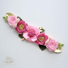 Fieltro Flores corona corona de flor rosa la muchacha de