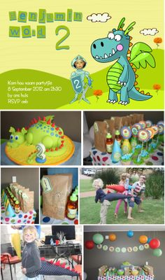 Dragon party for children with handmade dragon tails