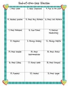 Teach Junkie: 26 Fun and Memorable End of the School Year Celebration Ideas - Class Election This would be fun Seemann Horn End Of School Year, Beginning Of School, School Fun, School Ideas, School Stuff, School Parties, End Of Year Activities, Classroom Activities, Classroom Ideas