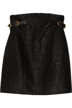Balmain Coated woven skirt