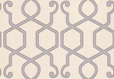 Clarke & Clarke stunning geometric design with modern colouring. Shown in pale lilac on off white with a fine gilver outline.