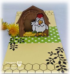 Caz Counsell using the Pop it Ups Barn Pop Stand, Hay There and Cheepers the Chicken die sets by Karen Burniston for Elizabeth Craft Designs. - A STAMPING & CHIRPING Corner: Karen Burniston May Designer Challenge Day 1