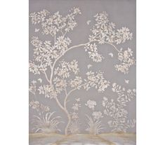 SY-601Handpainted chinese scenic wallpaper with metallic flower and bird design on a pieced 18th century style antiqued gray ground.PANEL SIZE: 3' WIDE BY 10' HIGH (TWO PANELS SHOWN)PRICE PER PANEL: $1,365