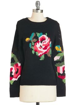 Pixelated Posy Sweater. You can really get into this black Louche sweaters rosy resolution. #black #modcloth