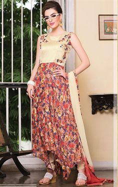 Picture of Flamboyant Beige, Red and Pale Navy Blue Salwar Kameez