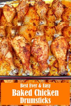 Best Ever & Easy Baked Chicken Drumsticks Recipe is the perfect way to make juicy and tender chicken that your whole family will love! Packed with all the right flavors. I coated the chicken drumsticks in a flavor packed dry rub, baked them, and they came Baked Chicken Drumsticks, Easy Baked Chicken, Easy Chicken Recipes, Beef Recipes, Cooking Recipes, Healthy Recipes, Garlic Chicken, Best Baked Chicken Recipe, Baked Chicken