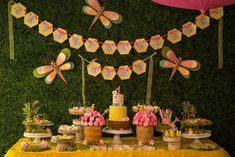 Bumble bees birthday party dessert table! See more party planning ideas at CatchMyParty.com!