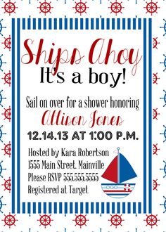 Nautical Baby Shower Invitation (Digital File)