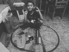 Ube busy with his train setting it up himself.