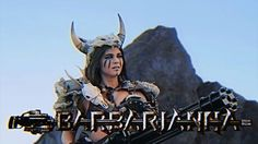Barbarianna, a character in Kung Fury. She defeats the Laser Raptor