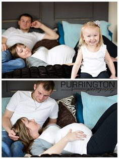 Maternity family photos on bed indoors © Purrington Photography bemidji maternity photographer (1)