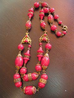 Vintage Neiger art deco Czech Red glass filigree Enamel necklace
