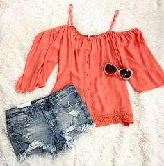 🍉✌️SUMMER Days🍉🍉🍉 :::Splash of Color with this Off the Shoulder T ($44)   Distressed Denim ($42):::Pair with sandals; sunglasses; ponytail; and fun in the sun. . For immediate assistance or to ORDER call ☎️701-356-5080 (We Ship 📦