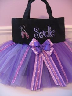 Embroidered Dance Bag  With Ballet Slipper Bling by gkatdesigns, $32.00