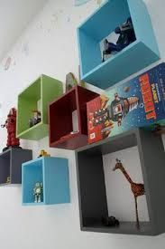 Love the different colored cube shelving. Cute for the kids' room or the living room if they were black, white, and maybe an accent color. Robot Bedroom, Robot Nursery, Kids Bedroom, Bedroom Ideas, Bedroom Decor, Spearmint Baby, Baby Boy Rooms, Kids Rooms, Grey Room